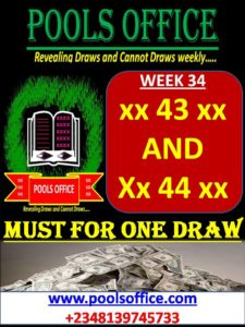 LATE NEWS FOR WEEK 34-DRAWS AND CANNOT DRAWS – POOLS OFFICE